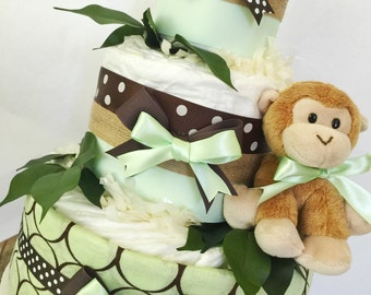 READY TO SHIP Monkey Diaper Cake in Mint and Brown, Monkey Baby Shower Centerpiece, Boy Diaper Cakes
