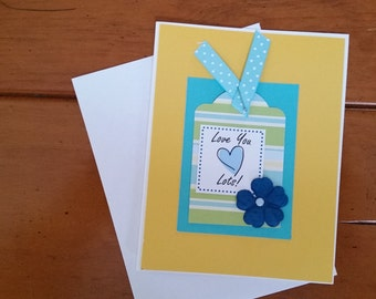 Friendship Card, Love You Lots, Greeting Card, Tag Art, Cheerful Inspiration, Happy Art, Handmade Card, One of a Kind