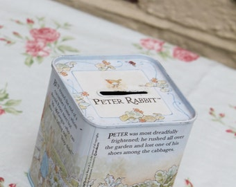 The Tale of Peter Rabbit Tin Money Box. Beatrix Potter Illustrations.