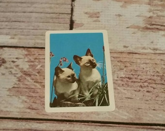 Vintage Playing Cards, Set of 12, Siamese Cat, Kitten, Turquoise, Kitsch