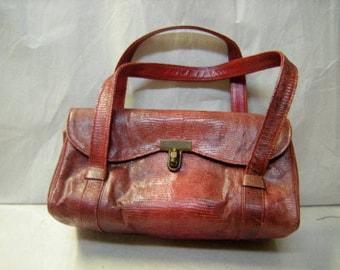 Rare 1950's prado bag-alligator bag-fine leather inside-Prado of mexico City-handbag-purse-