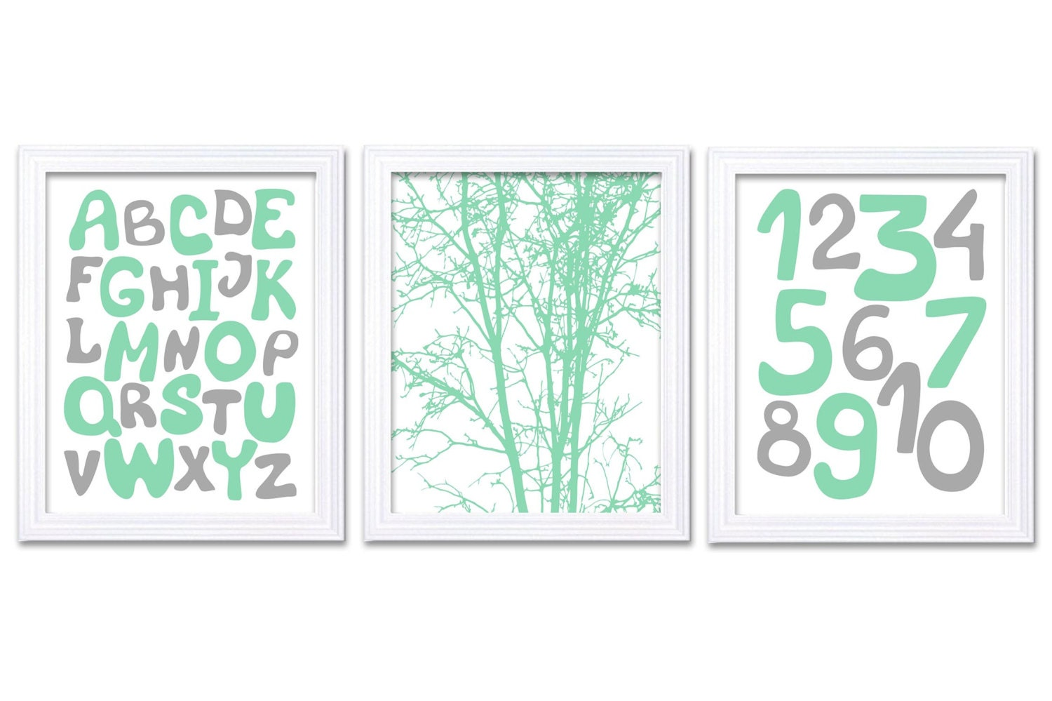 Mint Green Grey Alphabet Numbers Nursery Art Print Set of 3 Tree 123 ABC Child Art Kids Room Wall Ar