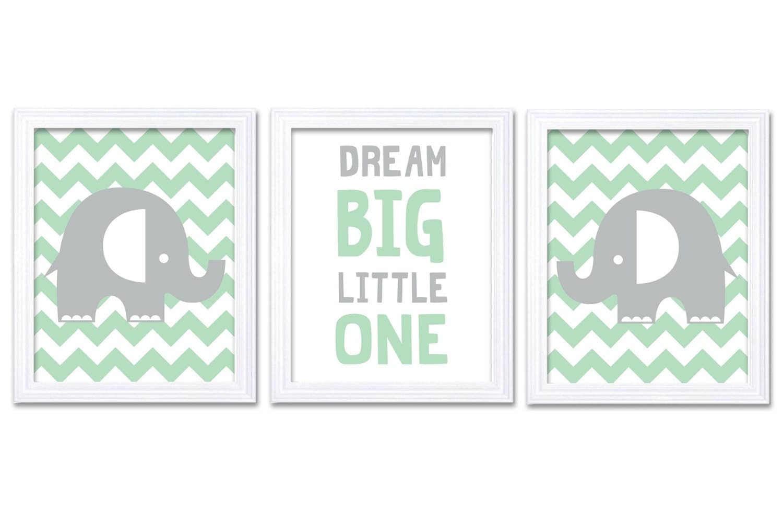 Mint Green Grey Elephant Nursery Art Dream Big Little One Set of 3 Prints Stripes Child Art Kids Roo