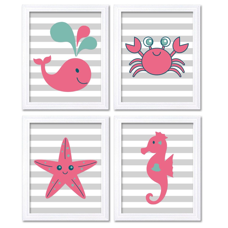 Hot Pink Teal Blue Sea Animals Nursery Decor Nursery Wall Art Print Baby Art Set of 4 Prints Whale S