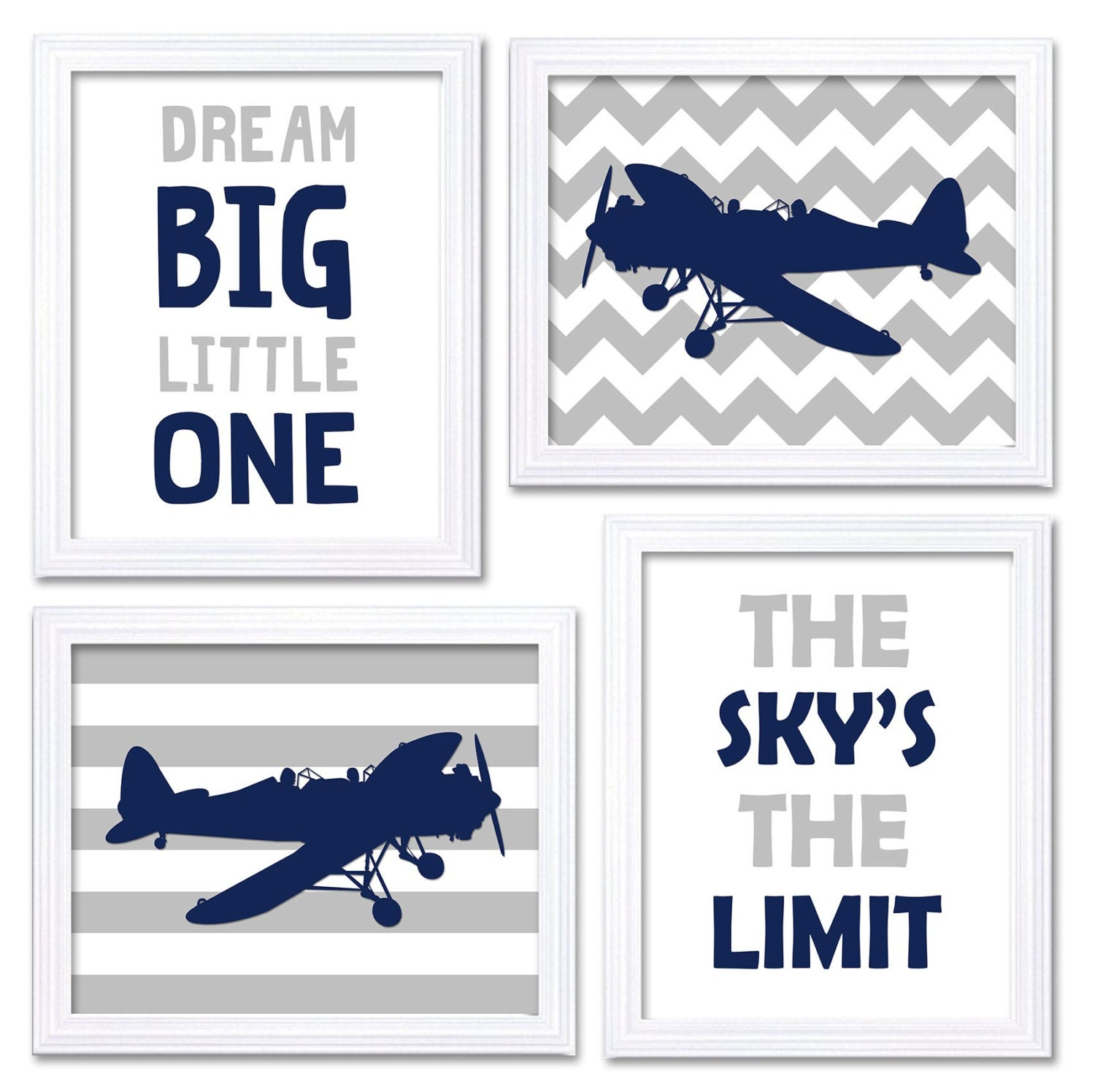 Airplane Nursery Art Navy Grey Nursery Print Set of 4 Transportation Dream Big Little One The Skys T