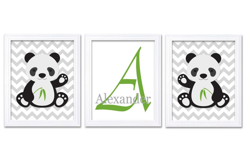 Panda Nursery Art Set of 3 Print Personalized Name Monogram Green Black Grey Dream Big Little One Ch