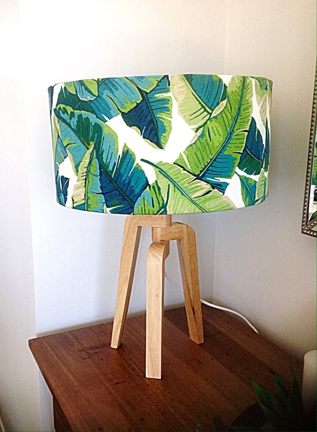 lampshade coastal lamp shade palms lamp shade beach decor. Black Bedroom Furniture Sets. Home Design Ideas