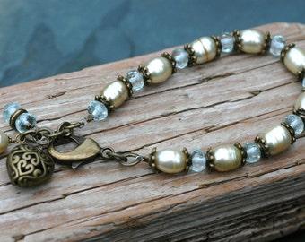 Genuine Aquamarine and Freshwater Pearl Bracelet; Vintage Look Bracelet; Romantic
