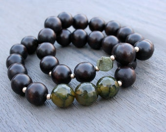 Green Agate and Jade Yoga Bracelets