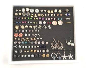 White Jewelry Tray - White Frame - Earring Storage