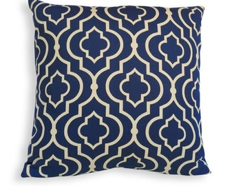 Lattice Print Reversible Pillow Cover in Indigo Blue and Gold - Modern Geometric Décor