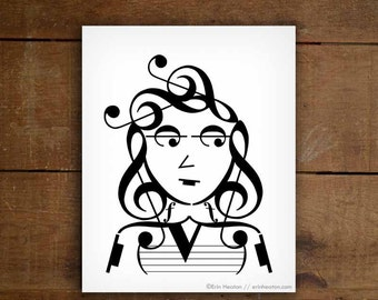 Music art / IT GIRL music note art - INDIE Series - 5x7, 8x10, 11x14 Fine art print / Black and white art / Gifts for musicians / Music gift