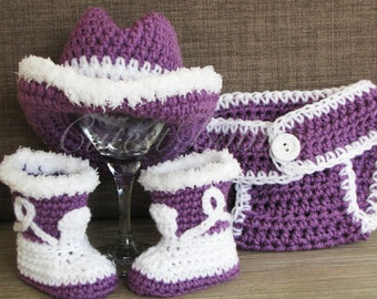 Baby Crochet Cowboy/ Cowgirl Hat, Boots & Diaper Cover Photo Prop