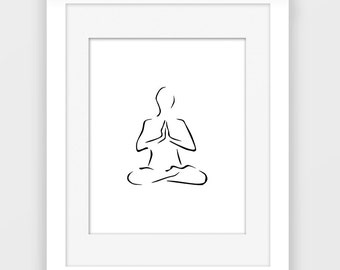 Namaste print, yoga wall art, black and white art, meditation print, instant download P117