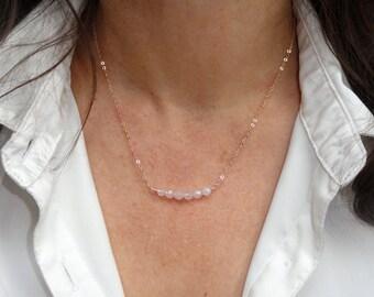 Rose gold rose quartz necklace, Rose gold gemstone necklace, Rose gold necklace, Rose quartz necklace, Bridesmaid gift, Bridesmaid necklace