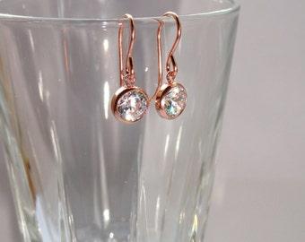Rose gold cz earrings, Cubic zirconia earrings, Rose gold jewellery, Rose gold earrings, Bridal earrings