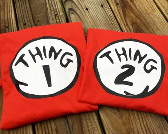 Thing 1 Thing 2 inspired Shirt - Dr. Seuss inspired Shirt