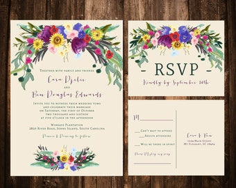 Fall Bohemian Floral Wedding Invitations; Sunflowers, Watercolor; Printable OR set of 25