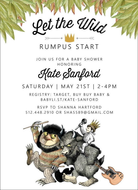 Where The Wild Things Are Baby Shower Invitation With Book