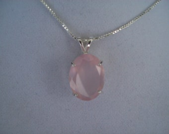 Genuine Faceted Rose Quartz Pendant - 20x15mm in Sterling SIlver