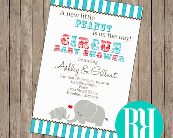 Elephant Baby Shower Invitation (digital & card stock)