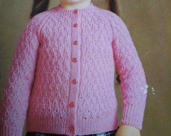 vintage girls cardigan pattern