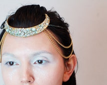 UNIQUE  REAL bone jewelry head chain boar tusk with crystal rhinestones and real pearl tribal goddess warrior cosplay head hair jewelry