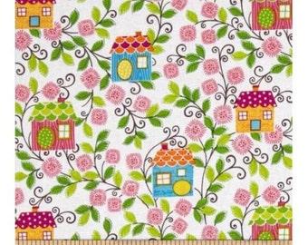 Sweet Tweet Fabric , Houses in Vines, Mitzi Powers, Benartex, (By 1/2 yard)
