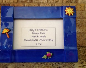 Summer Beach Beachy Vacation  Picture Photo Frame  Fused Glass