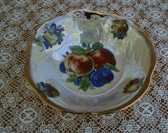 Vintage Trimont Ware Iridescent Bowl, Fruit Design