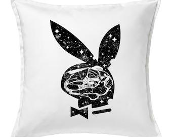 Not So Playboy Bunny  Feather Throw Pillow