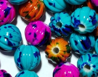 Spray Painted Acrylic Beads, Pumpkin Shape, Qty: 30, Mixed Color, Size about 11.5mm in diameter, hole 3.5mm   #074