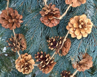 pine cone garland 8 foot long woodland decor garland, winter decor for cabin or lake house