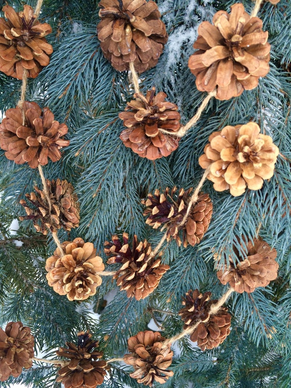 Pine cone garland 8 foot long woodland decor garland winter for Long pine cones