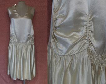 "Divine 1920s silk drop waist wedding dress / evening dress bust 31"" w/ easy to alter/ custom silhouette"