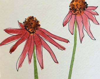 Cone Flower Watercolor Card