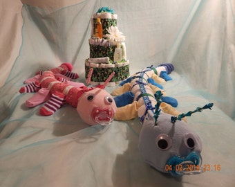 2 Caterpillar with Garden Diaper Cake Combo