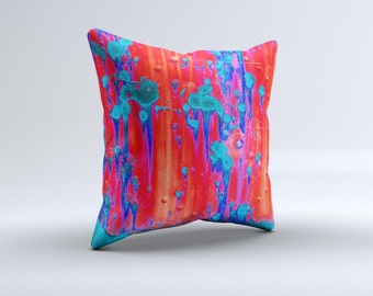 The Bright Red v2 Metal with Turquoise Rust ink-Fuzed Decorative Throw Pillow