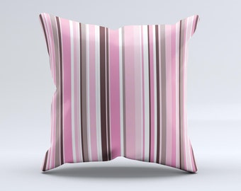 The Pink and Brown Fashion Stripes ink-Fuzed Decorative Throw Pillow