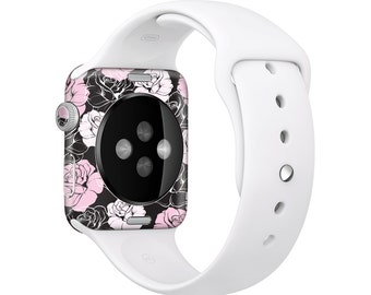 The Pink and Black Rose Pattern V3 Full Body Skin Set for the Apple Watch