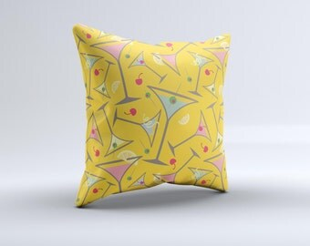The  Orange Martini Drinks With Lemons  ink-Fuzed Decorative Throw Pillow