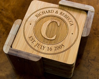 Personalized Bamboo Coasters - Custom Engraved Set 6 Square Bamboo Coasters with Holder - Couple's Gift - Wedding Gift - Anniversary Gift