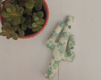 Ready to ship // Yellow Floral Saguaro Plushie, Cuddly Cactus, Desert Toy, Baby Toy, Fabric Doll