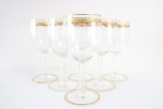 Antique Wine Glasses With Gold Scrolls Set Of 5 Vintage Wine