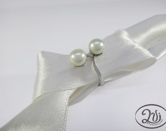Ring handmade, with freshwater white pearl and 925 silver women