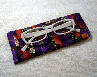 Quilted Eyeglass Case - Fabric Glass Case - Artsy Glass Case - Eyeglass Case - EGC13