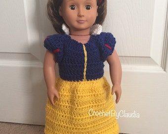Crochet Doll Snow White Inspired Dress Set/ 18in Doll Clothes/ Doll/ Made to Order