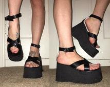 Vintage 90's GOTH Grunge PLATFORM High Heel BOOTS