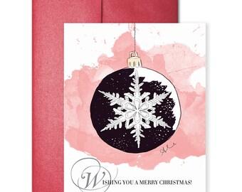 Silver Snowflake - Greeting Card, Illustration Card, Christmas Card, Holiday Card
