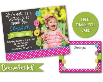 Cute as a Button First Birthday Invitation - Printable 1st Birthday Party Invite - First Birthday Girl Ideas - Chalkboard Invitation